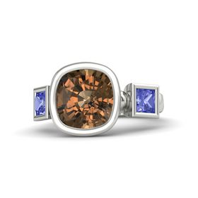 Cushion Smoky Quartz Platinum Ring with Tanzanite
