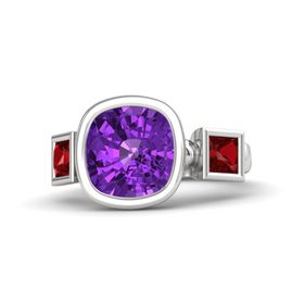 Cushion Amethyst Sterling Silver Ring with Ruby