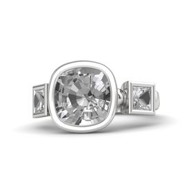 Cushion Rock Crystal Sterling Silver Ring with Rock Crystal