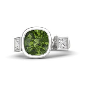 Cushion Green Tourmaline Sterling Silver Ring with White Sapphire
