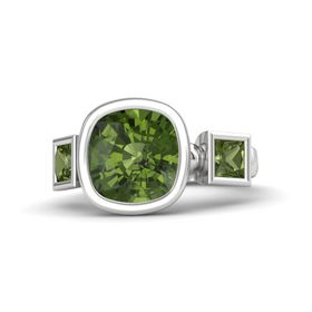 Cushion Green Tourmaline Sterling Silver Ring with Green Tourmaline