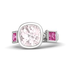 Cushion Rose Quartz Sterling Silver Ring with Pink Sapphire