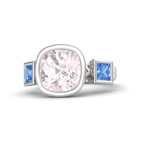 Cushion Rose Quartz Sterling Silver Ring with Blue Topaz