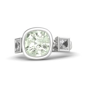 Cushion Green Amethyst Sterling Silver Ring with Rock Crystal