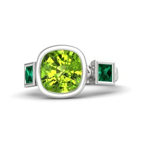 Cushion Peridot Sterling Silver Ring with Emerald