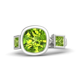 Cushion Peridot Sterling Silver Ring with Peridot