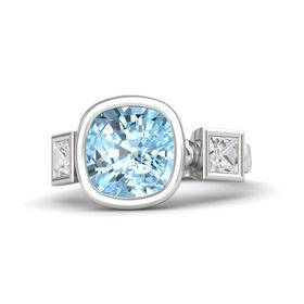 Cushion Aquamarine Sterling Silver Ring with White Sapphire