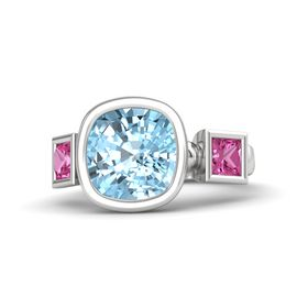 Cushion Aquamarine Sterling Silver Ring with Pink Sapphire
