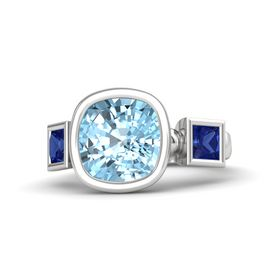 Cushion Aquamarine Sterling Silver Ring with Sapphire