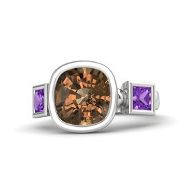Cushion Smoky Quartz Sterling Silver Ring with Amethyst