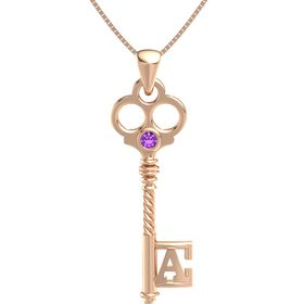14K Rose Gold Necklace with Amethyst