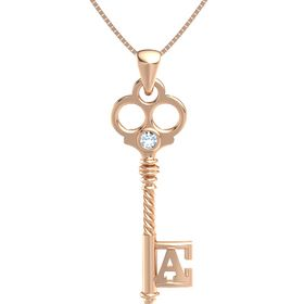 14K Rose Gold Pendant with Aquamarine