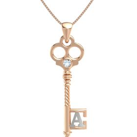 14K Rose Gold Necklace with Aquamarine