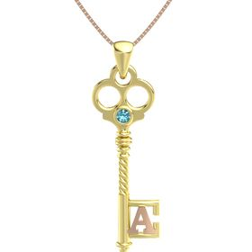 14K Yellow Gold Pendant with London Blue Topaz