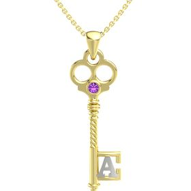 14K Yellow Gold Pendant with Amethyst