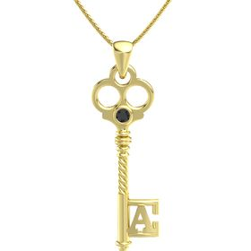 14K Yellow Gold Necklace with Black Diamond