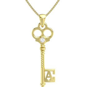 14K Yellow Gold Pendant with Rock Crystal