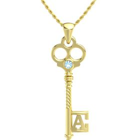 14K Yellow Gold Pendant with Blue Topaz