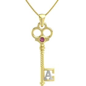 14K Yellow Gold Necklace with Rhodolite Garnet