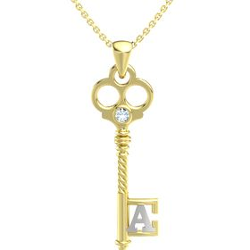 14K Yellow Gold Pendant with Aquamarine