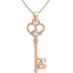 18K Rose Gold Pendant with Blue Topaz