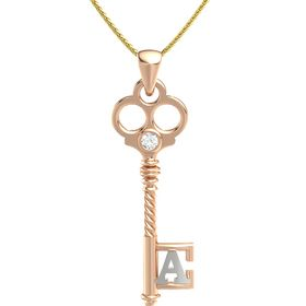 18K Rose Gold Necklace with Rock Crystal