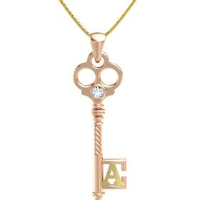 18K Rose Gold Necklace with Aquamarine