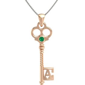 18K Rose Gold Necklace with Emerald
