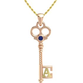 18K Rose Gold Pendant with Blue Sapphire