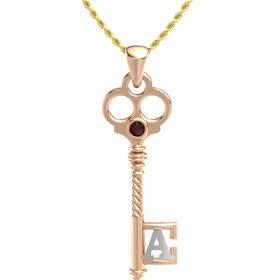 18K Rose Gold Pendant with Red Garnet