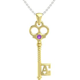18K Yellow Gold Pendant with Amethyst