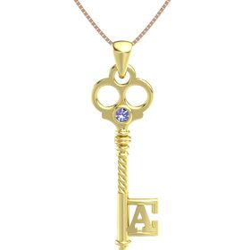18K Yellow Gold Pendant with Tanzanite