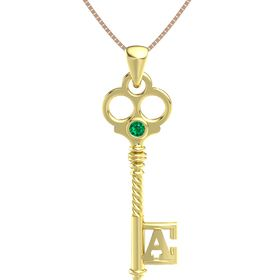 18K Yellow Gold Pendant with Emerald