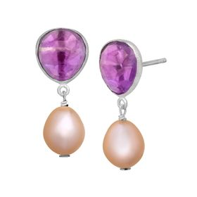 2 1/2 ct Amethyst & Peach Pearl Drop Earrings