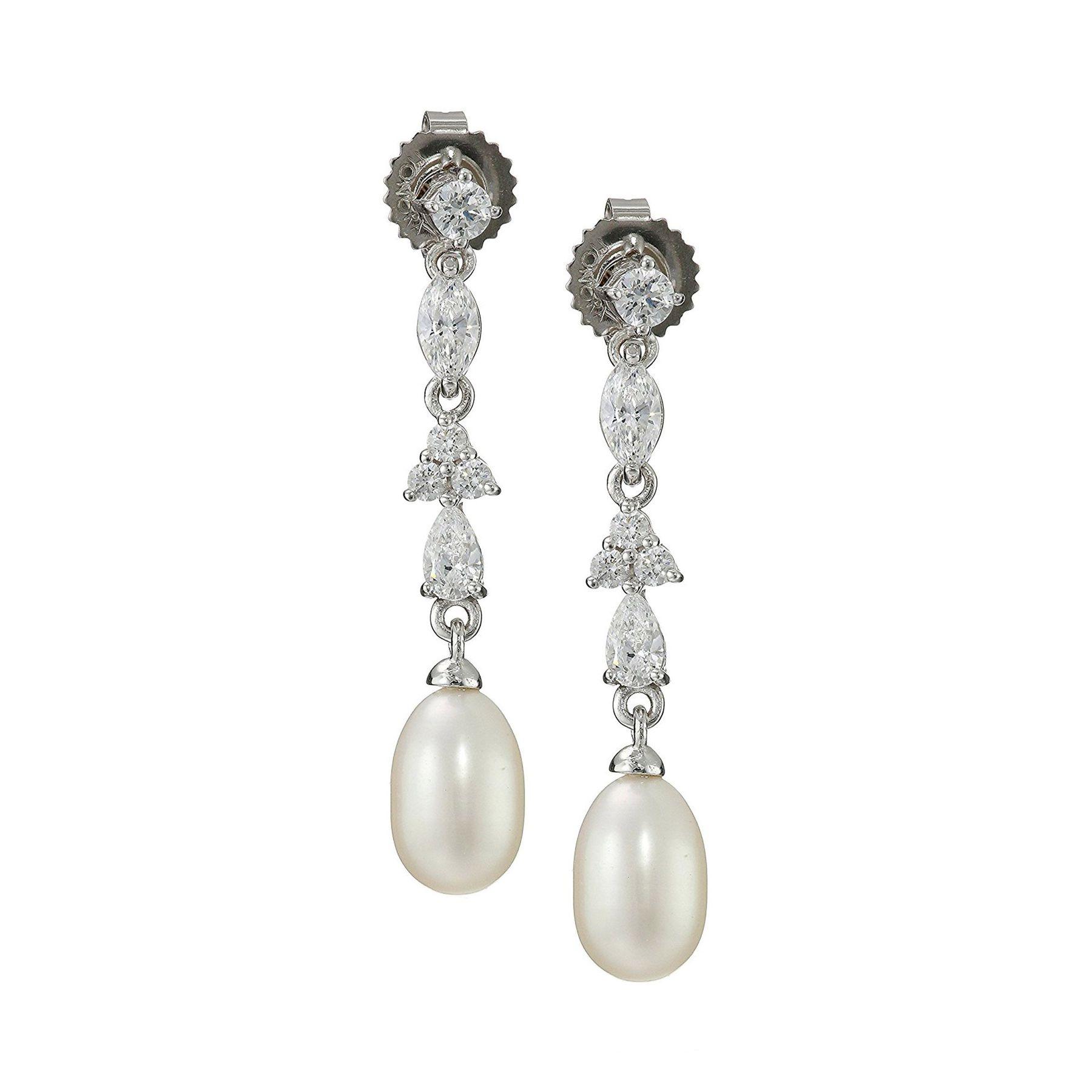 7 5 Mm Pearl Drop Earrings With Swarovski Zirconia