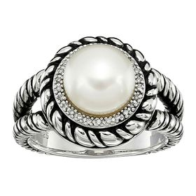 9-9.5 mm Button Pearl Rope Ring with Diamonds
