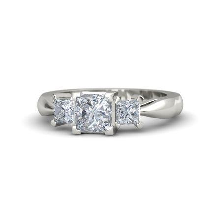 Princess Diamond 14K White Gold Ring with Diamond Ariel Ring Gemvara