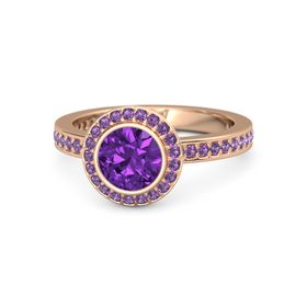 Round Amethyst 14K Rose Gold Ring with Amethyst