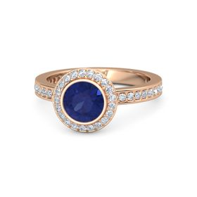 Round Blue Sapphire 14K Rose Gold Ring with Diamond