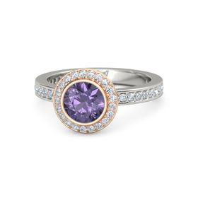 Round Iolite 14K White Gold Ring with Diamond