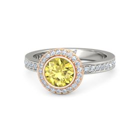 Round Yellow Sapphire 14K White Gold Ring with Diamond