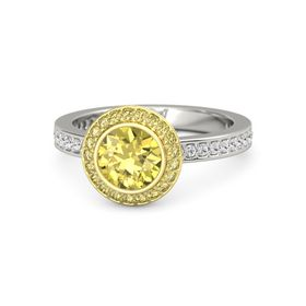 Round Yellow Sapphire 14K White Gold Ring with Yellow Sapphire & White Sapphire