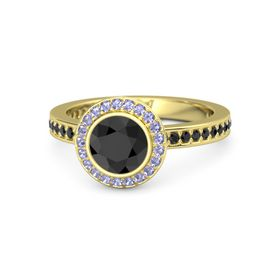 Round Black Diamond 14K Yellow Gold Ring with Tanzanite and Black Diamond