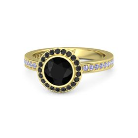 Round Black Onyx 14K Yellow Gold Ring with Black Diamond and Tanzanite