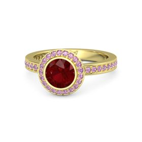 Round Ruby 14K Yellow Gold Ring with Pink Tourmaline