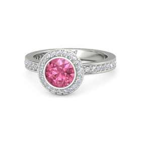 Round Pink Tourmaline 18K White Gold Ring with Diamond
