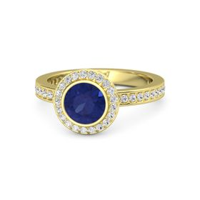 Round Blue Sapphire 18K Yellow Gold Ring with White Sapphire