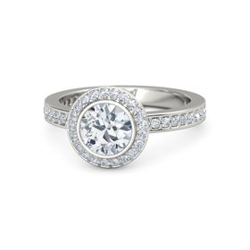 Round Diamond Palladium Ring with Diamond