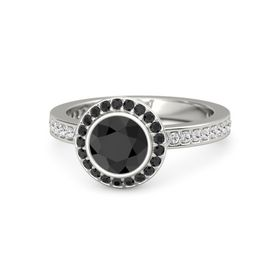 Round Black Diamond Palladium Ring with Black Diamond & White Sapphire