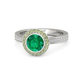 Round Emerald Palladium Ring with Peridot and White Sapphire